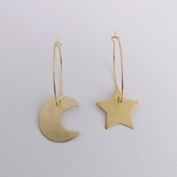 pendiente argolla estrella bronce