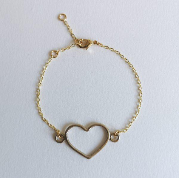 pulsera corazón bronce