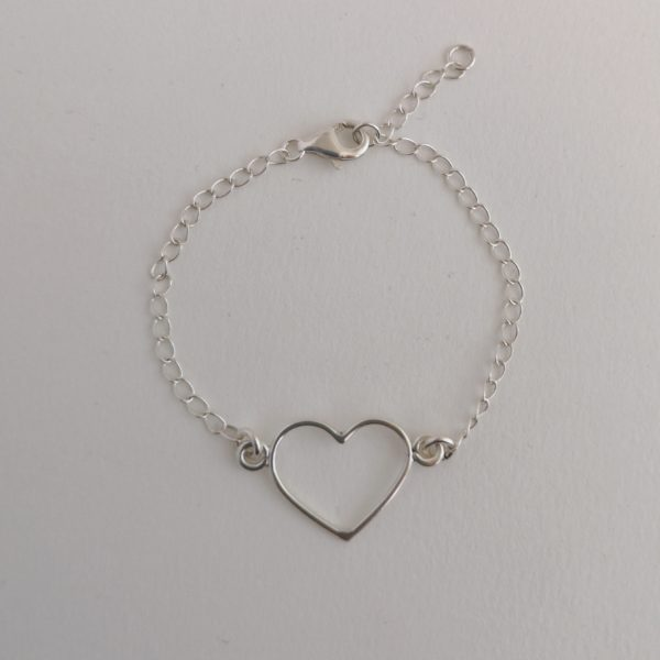 pulsera plata corazón