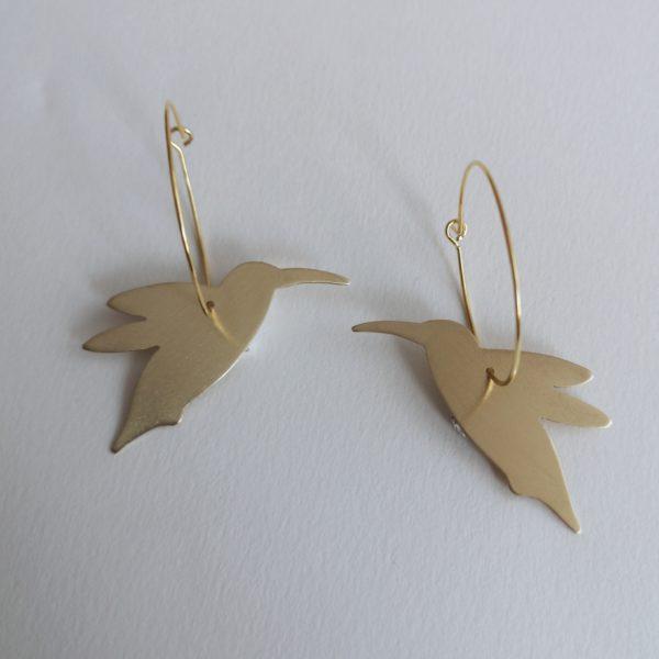 pendiente colibrí bronce