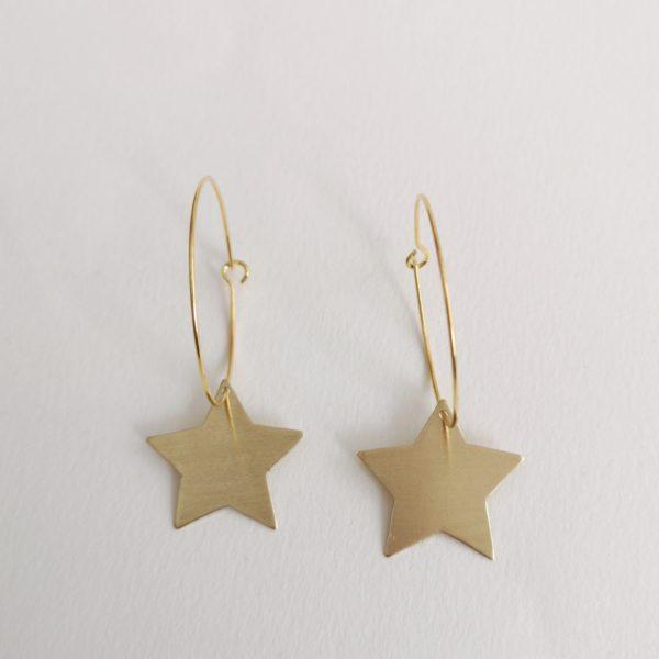 pendiente estrella bronce