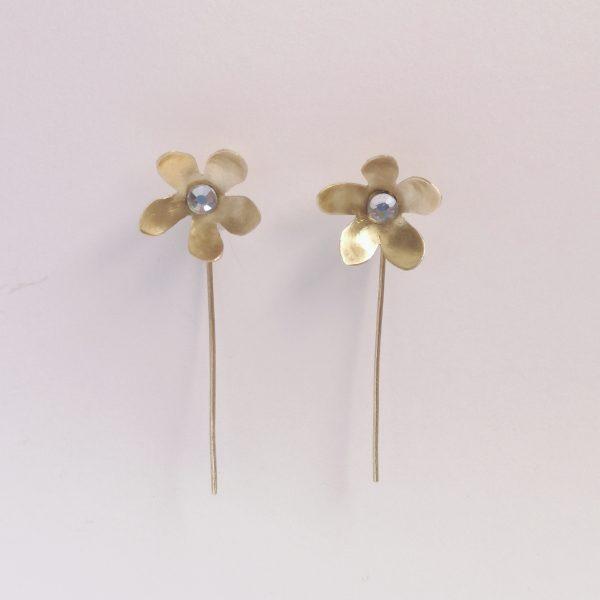 Pendiente flor cristal Swarovski pequeño