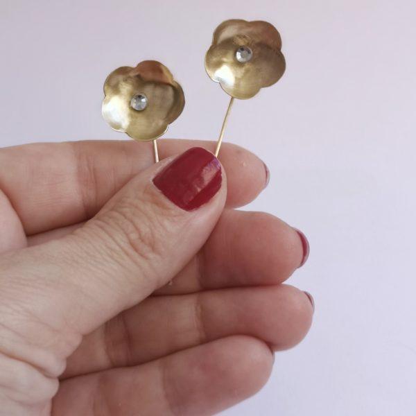 pendiente flor cristal Swarovski bronce
