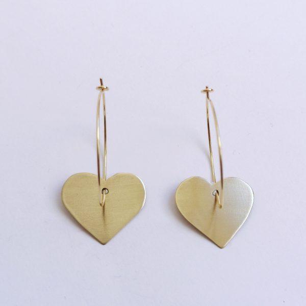pendiente argolla baño de oro corazon bronce