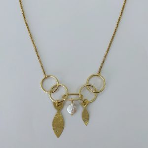 collar peces chicharrito doble argollas bronce