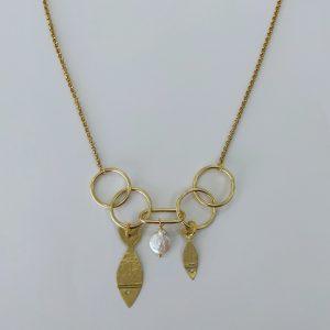 collar peces chicharrito doble argollas bronce