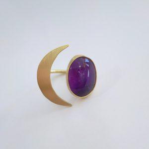 anillo ajustable media luna piedra amatista 1