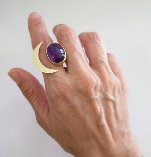 anillo ajustable media luna piedra amatista 2
