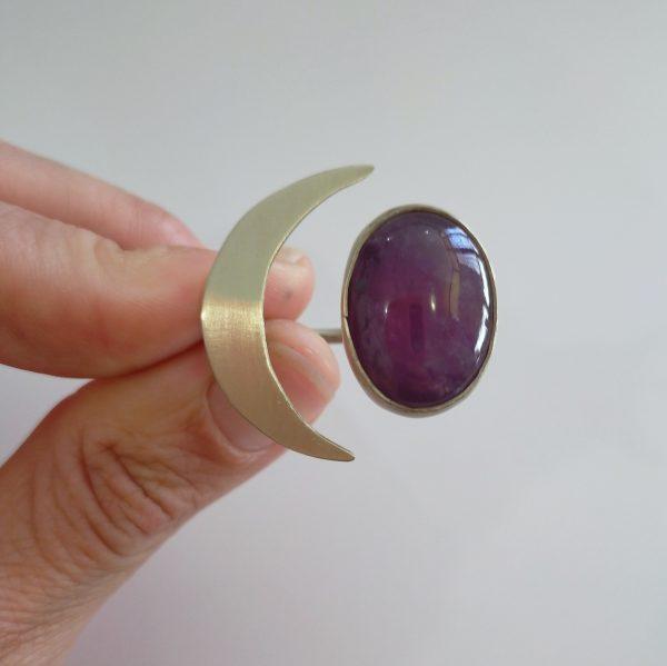 anillo ajustable media luna piedra amatista 4