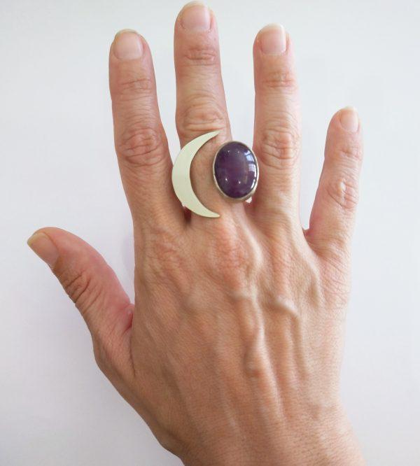 anillo ajustable media luna piedra amatista 5