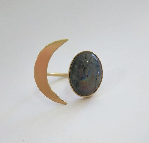 anillo ajustable media luna piedra labradorita 1