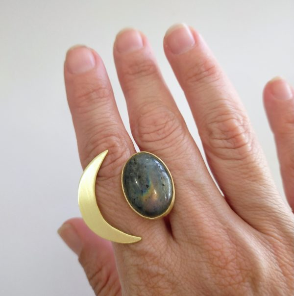 anillo ajustable-media luna piedra labradorita 3